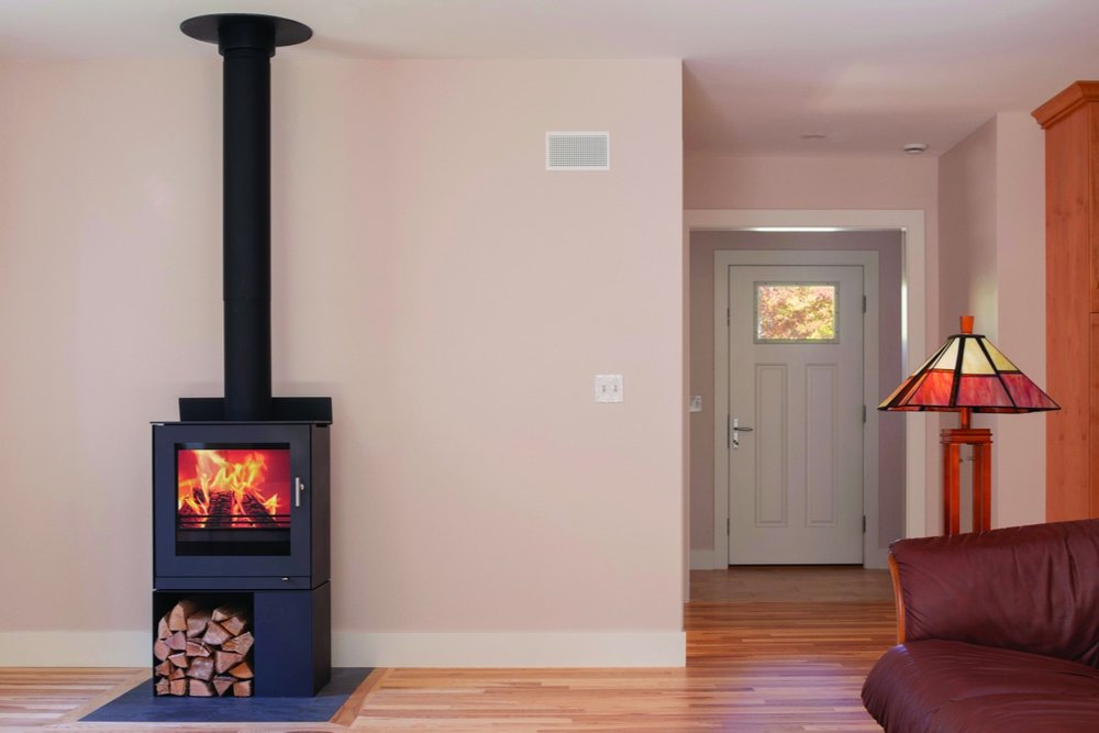The Martins purchased a Rais wood stove they use about twice a week. It is so efficient that, when in use, it provides enough heat to warm the 2,200sf house without the use of heat pumps.