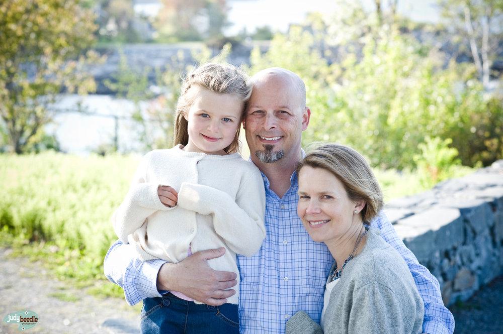 Tessa and her parents. Fort Williams, Cape Elizabeth, Maine.