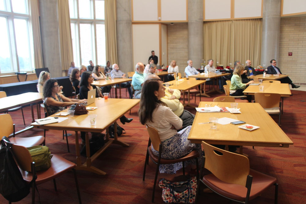 Audience members at Aug. 22 public forum with Molly de Aguiar of the News Integrity Initiative.