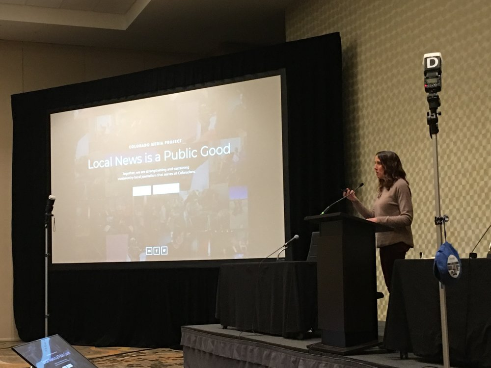 Melissa Milios Davis of the Gates Family Foundation delivers the keynote address at the Colorado Press Association Convention.