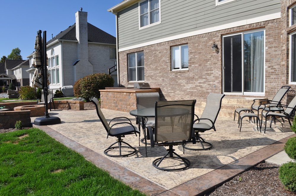 Patio Texture Roman Slate, Body Cream Buff base, border Saddle Soap, Walnut release, Outdoor kitchen, Freedom Split face block