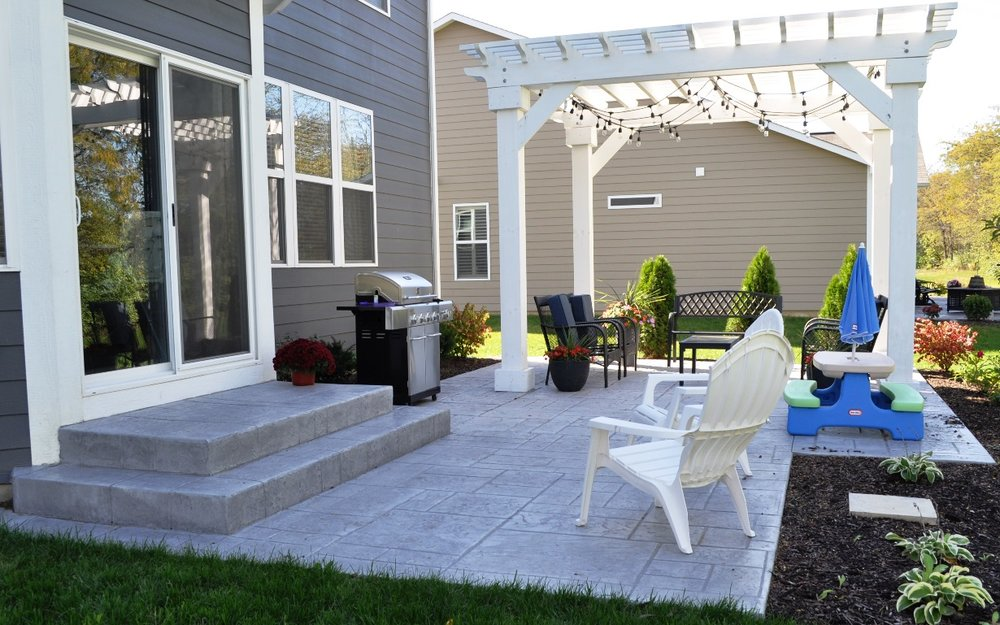 Patio stamp stones of athens, oceanside base color, soft gray release