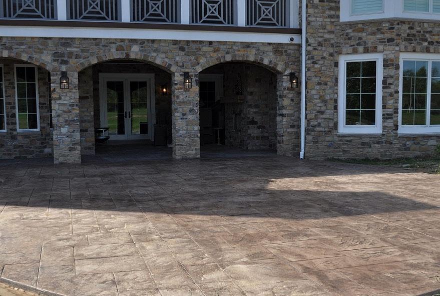 patio large ashlar slate stamp, mocha base, dark walnut release 1