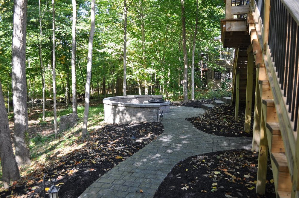 Patio and walk, Stamped Mayan Cobblestone, Dark Walnut, Charcoal Gray, Hickory firepit and wall