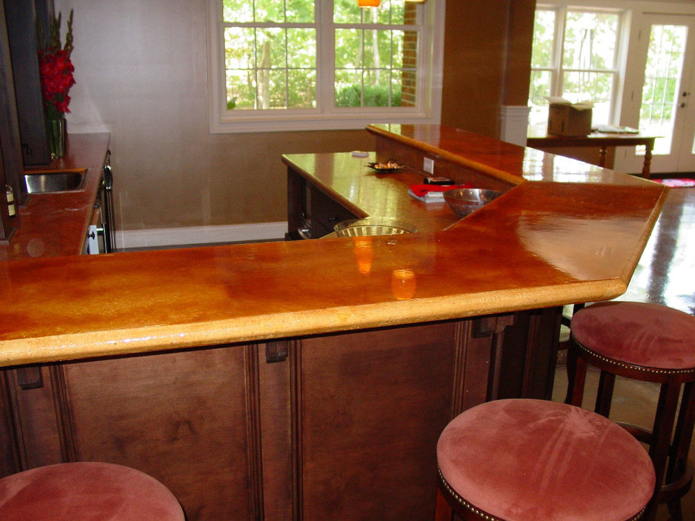 Cast-in-Place countertop with Mission Brown Acid Stain with epoxy and urethane