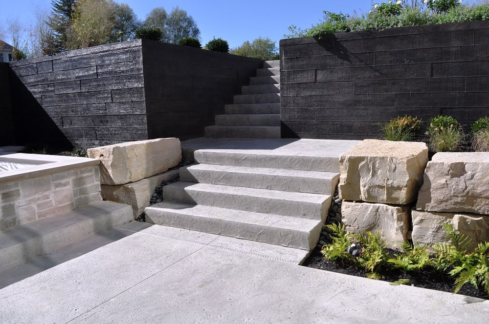 Patio with Steps Texture Italian Slate with Rock Salt Finish, Soft Gray base color, Rock Gray release