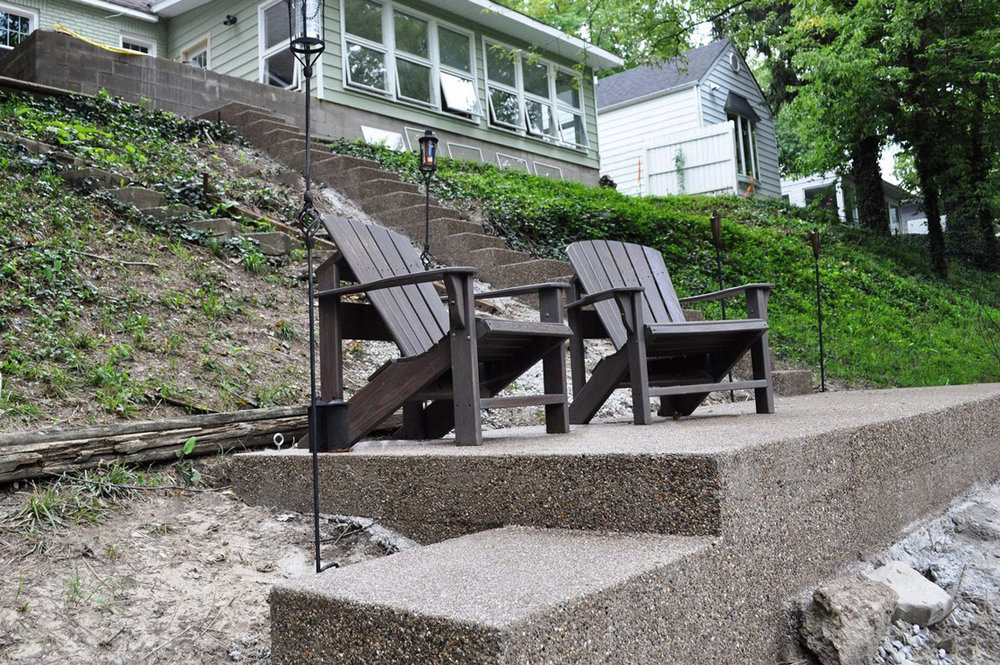 steps with landings in exposed aggregate