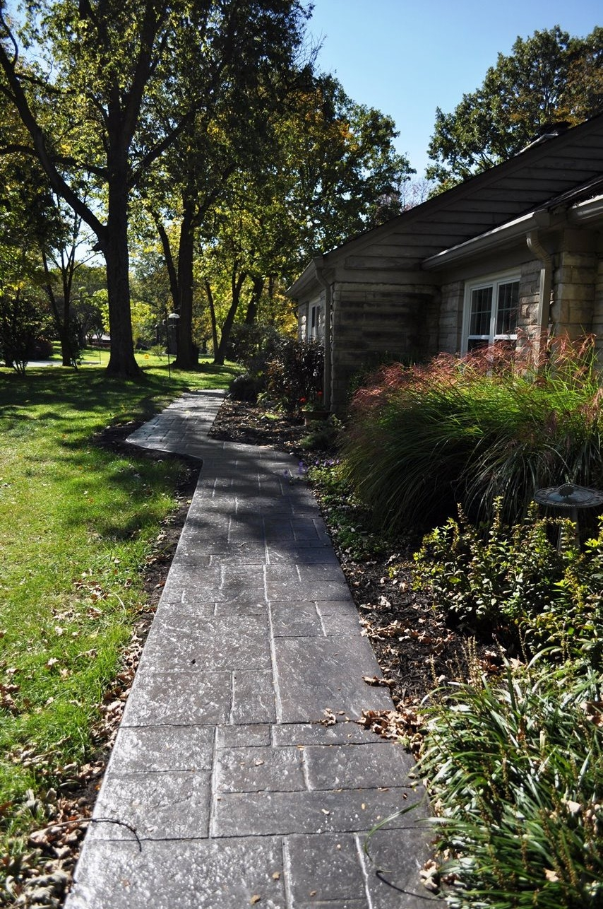 Walk stamped stone of athens, dark walnut, charcoal gray