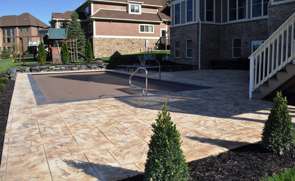 Pool deck w coping, deck large ashlar slate, cameo base, mojave release, coping beligum slate, rock gray base, midnight gray release b