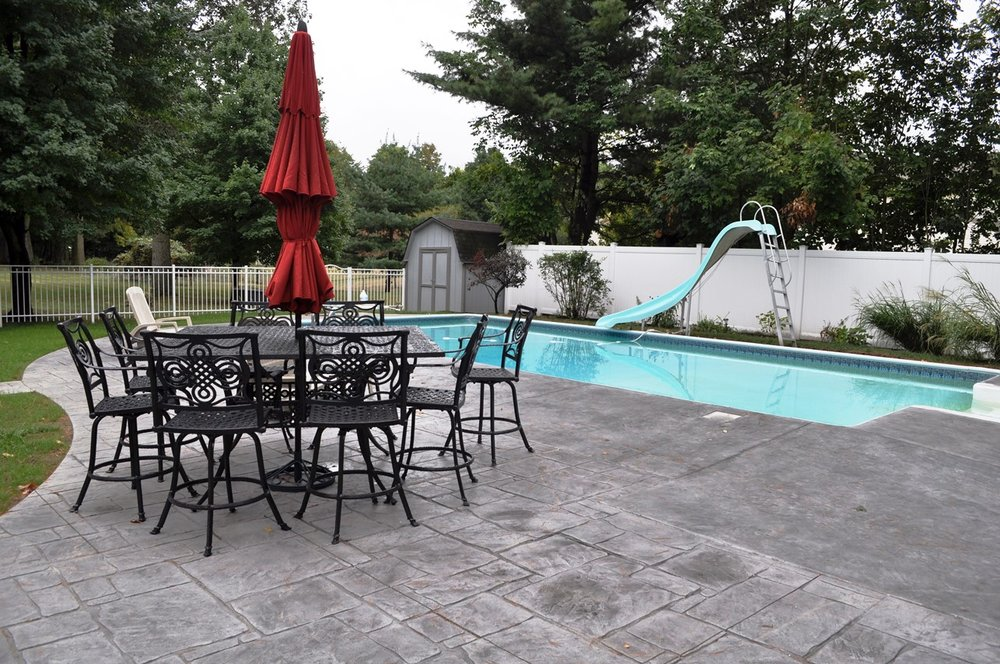 pool deck, Patio textured Italian slate and Stamped, english yorkstone, sable, platinum