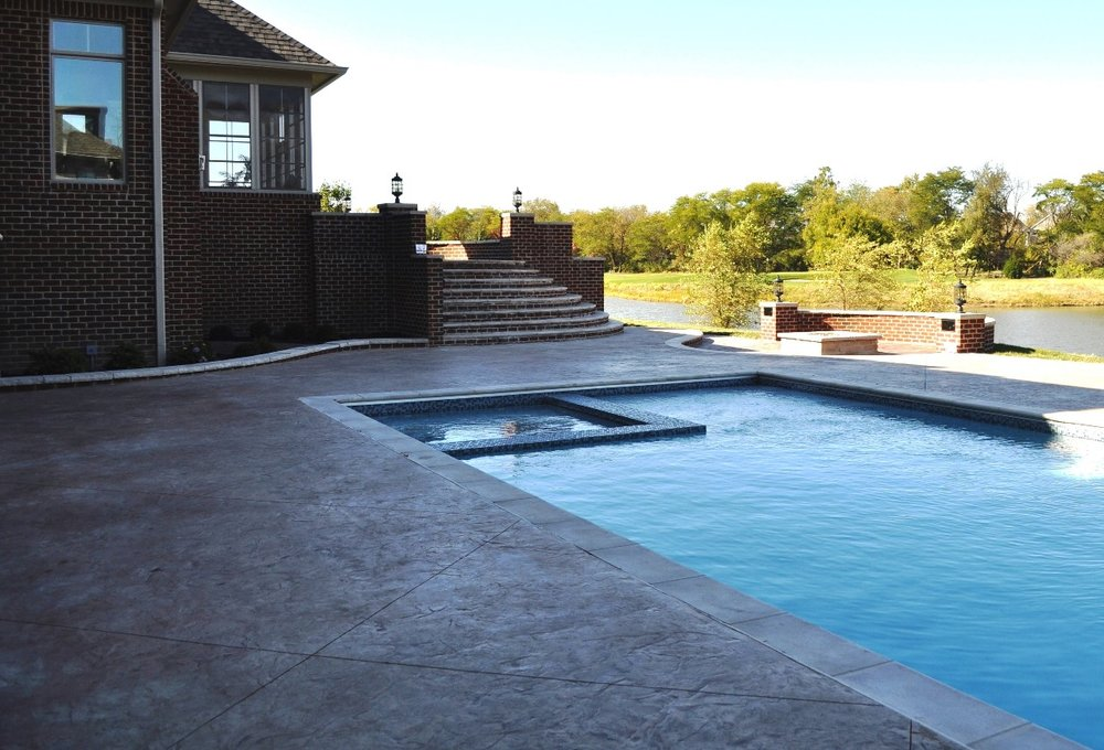 Pool deck, Textured Roman Slate, Bisque, Autumn Brown
