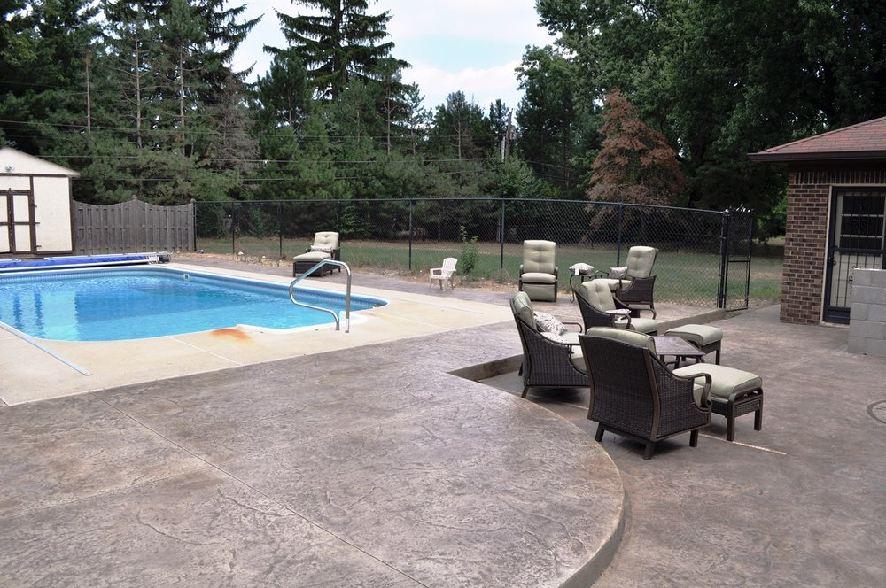Pool deck, textured old granite, oyster white, dark walnut