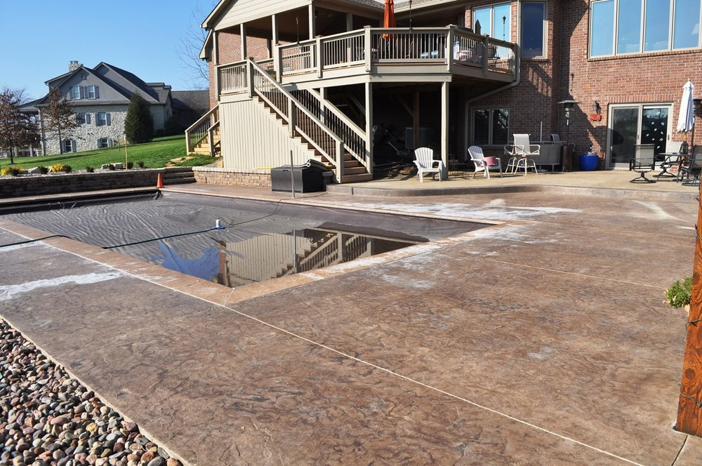 pool deck, textured roman slate, Canvass intregral color, dark walnut release