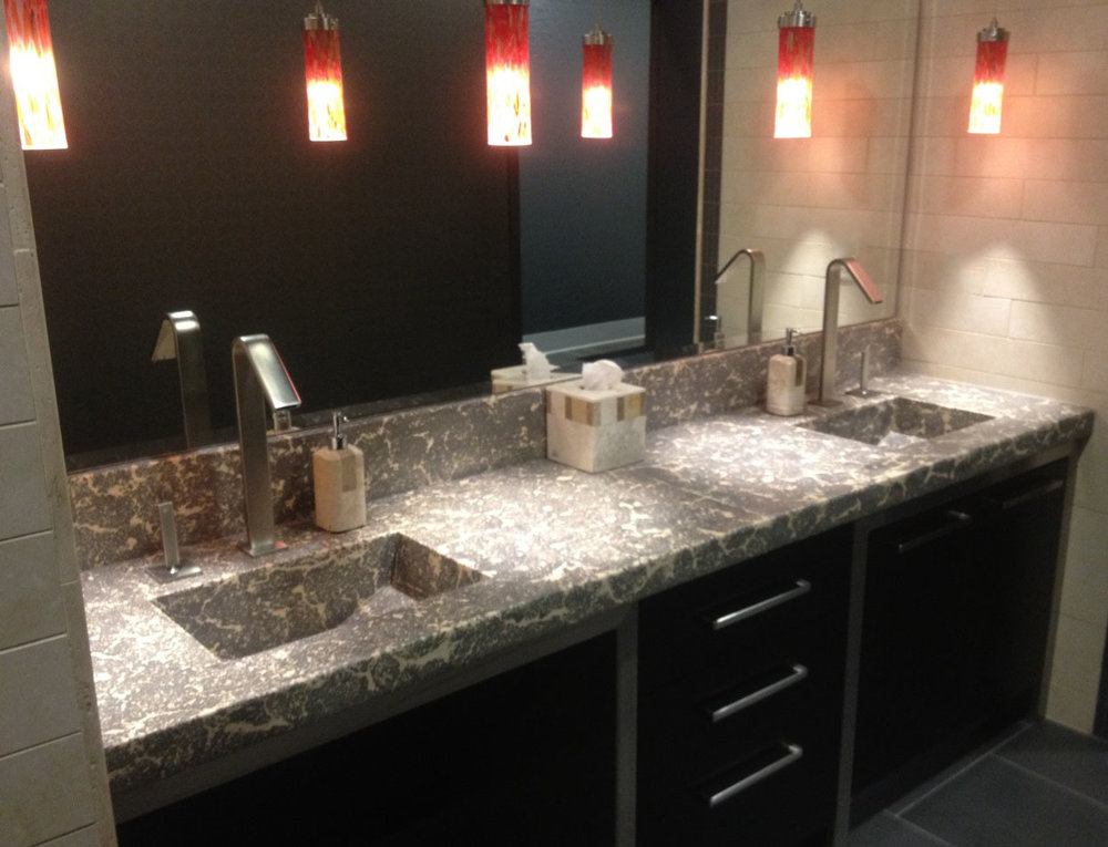 bathroom vanity countertop with integrated sink, pressed method, base smoke, fill sand