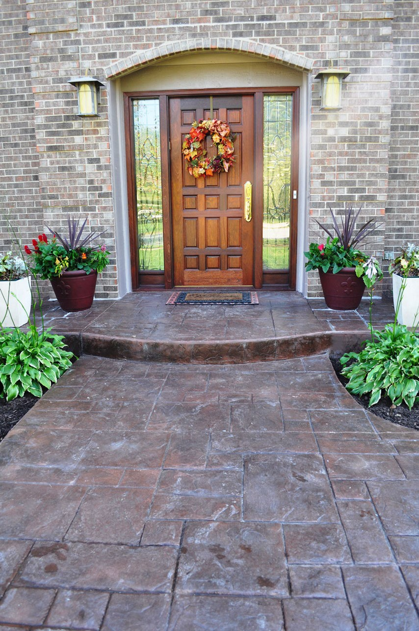 entry, grand ashlar slate stamp, rust brown base, dark walnut release and venetian pink color splashes