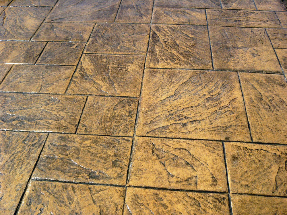 Stamped Large Ashlar Slate, Mesa Buff, and Charcoal Gray