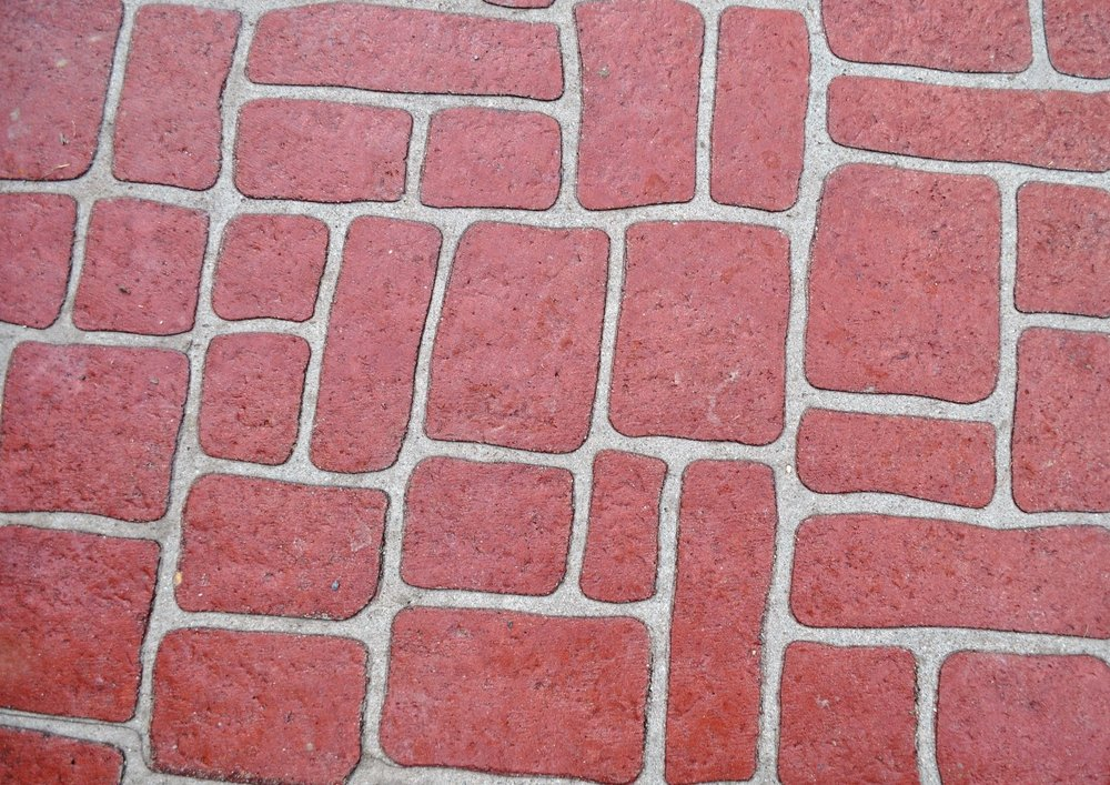 Old english cobblestone stenciled , brick red, charcoal 2