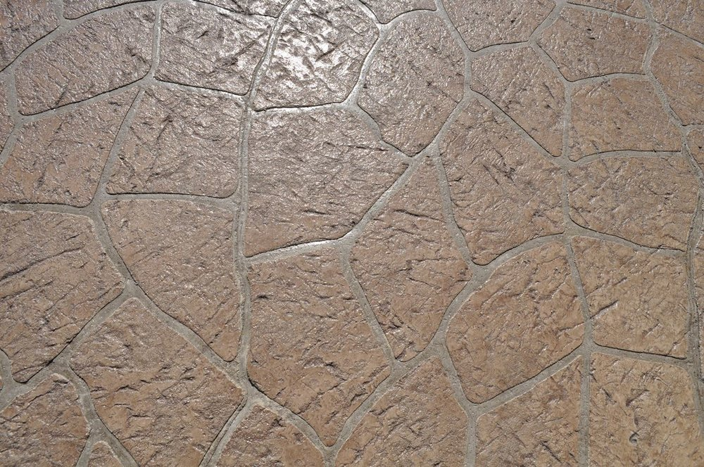 Stenciled Flagstone pattern granite texture, Oyster White, Autumn Brown