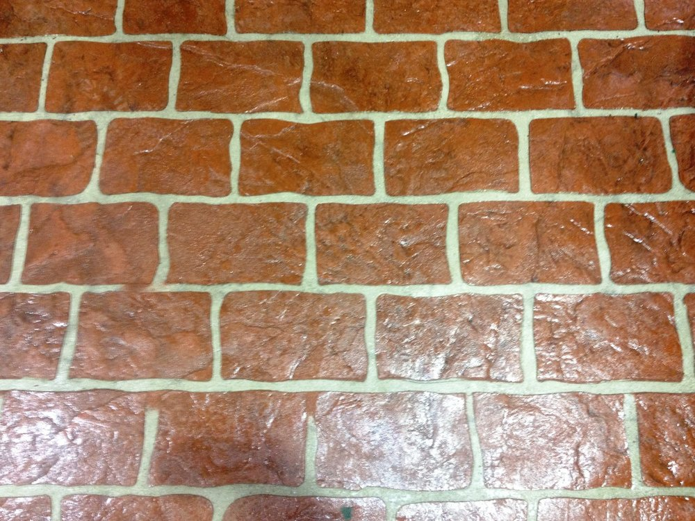 Rustic brick stenciled , rust brown, autumn brown release