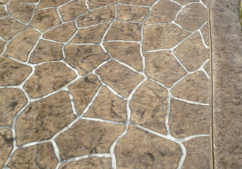 Stenciled flagstone, Belgium slate skin, mesa buff, charcoal grey with border