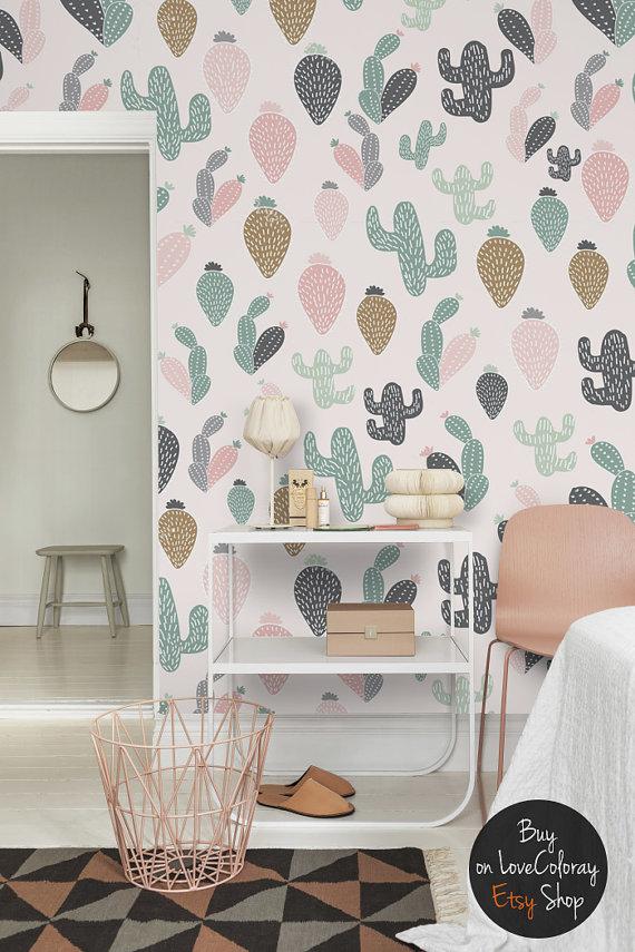Pastel Cactus Wallpaper