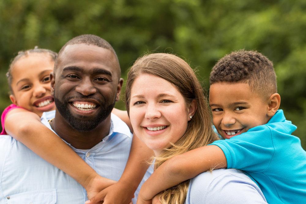 Beautiful diverse family