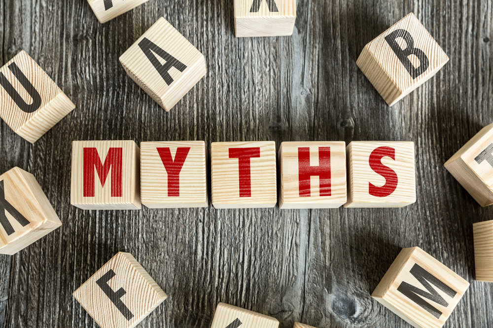 Wooden Blocks with the text: Myths