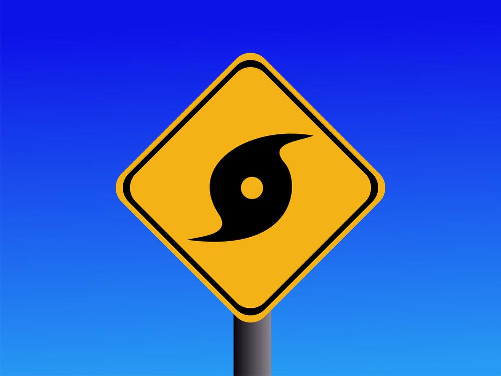 Warning hurricane sign