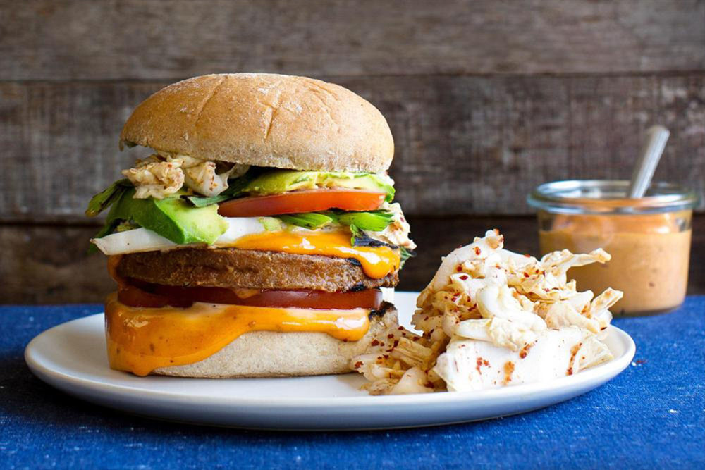 Inspiration: Korean-Style Tofu Burgers with Kimchi Slaw