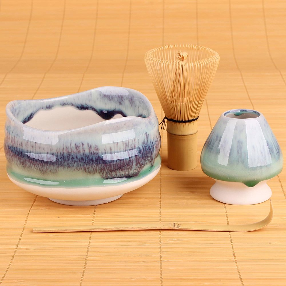 You'll need a chawan, a chasen, and a chashaku to prepare matcha, Or, in other words, a bowl, a whisk, and a scoop.