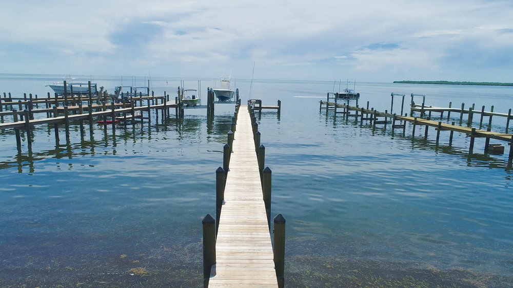 New wood dock in Islamorada, Florida