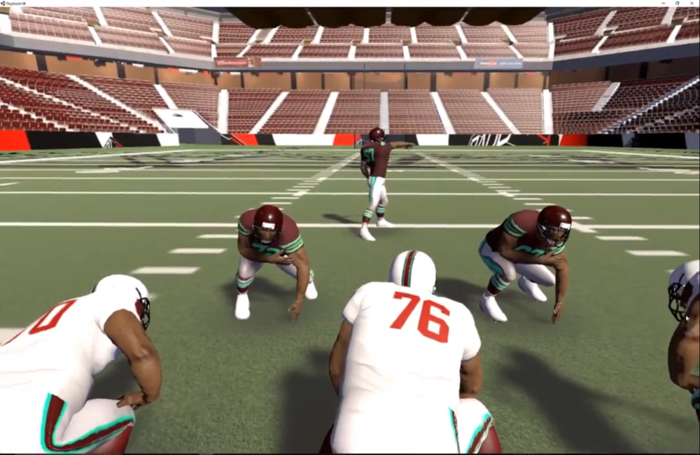 2. Experience in 3D - Each play is downloaded and then rendered in virtual reality within seconds of creation. Players study formations, coverages, and football rules in VR. They watch content narrated by coaches/players, and can rewatch the content until the lesson is learned. Then they can test their understanding of each lesson through Challenges. The VR Challenges are customizable teaching tools: identify players, identify routes, move players to the correct location, or multiple choice questions. Correct/Incorrect stats help determine a player's mastery of a lesson.