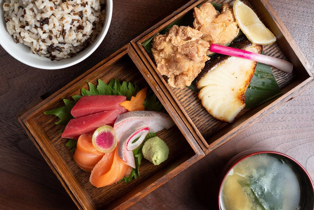 Chateau Hanare Bento | sashimi, kaarage, saikyo miso black cod