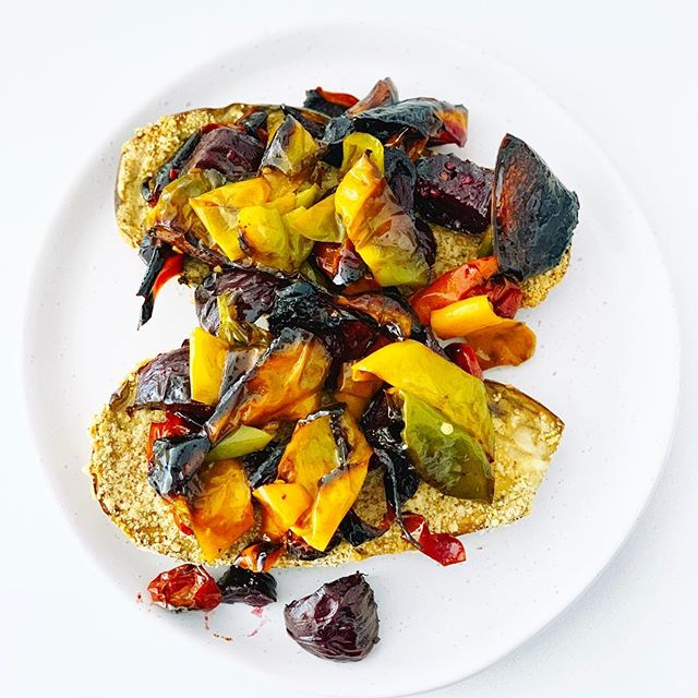 Crusted + roasted eggplant with a smattering of mix roasted veg made this meal into something amazing.  What did you make with your veg this week? #supportlocal #fruitandveg #supportlocalfarmers #community #parkigrocer