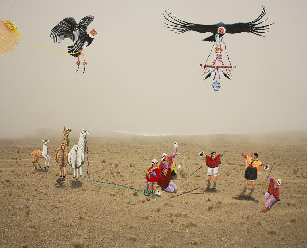 Karen Miranda Rivenandiera  The Gathering,  2018 pigment print, oil intervention by Julio Toaquiza 19 x 22 inches