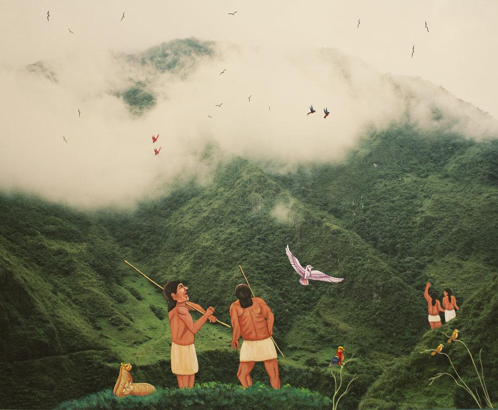 Karen Miranda Rivenandiera  Towards Napo , 2018 pigment print, oil intervention by Julio Toaquiza 19 x 22 inches