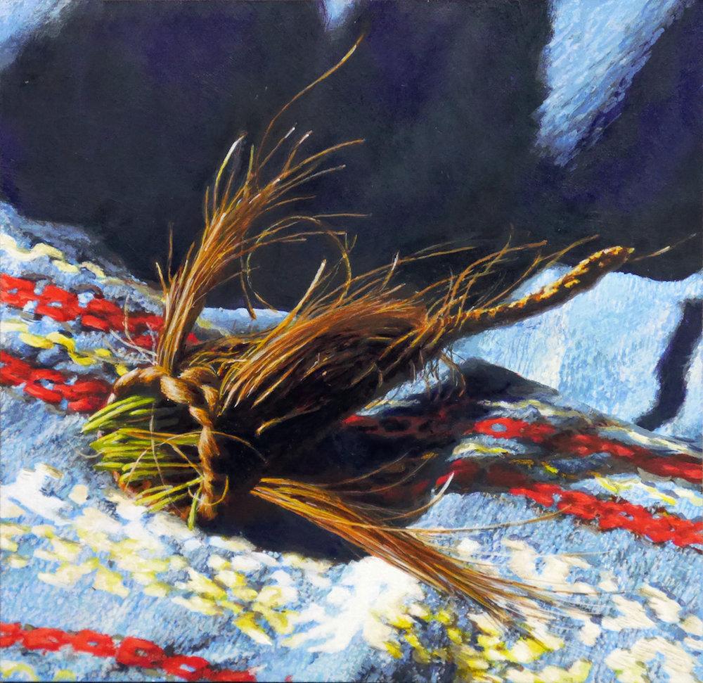 "Cedra Wood Nest VI Acrylic on panel 4"" x 4"""