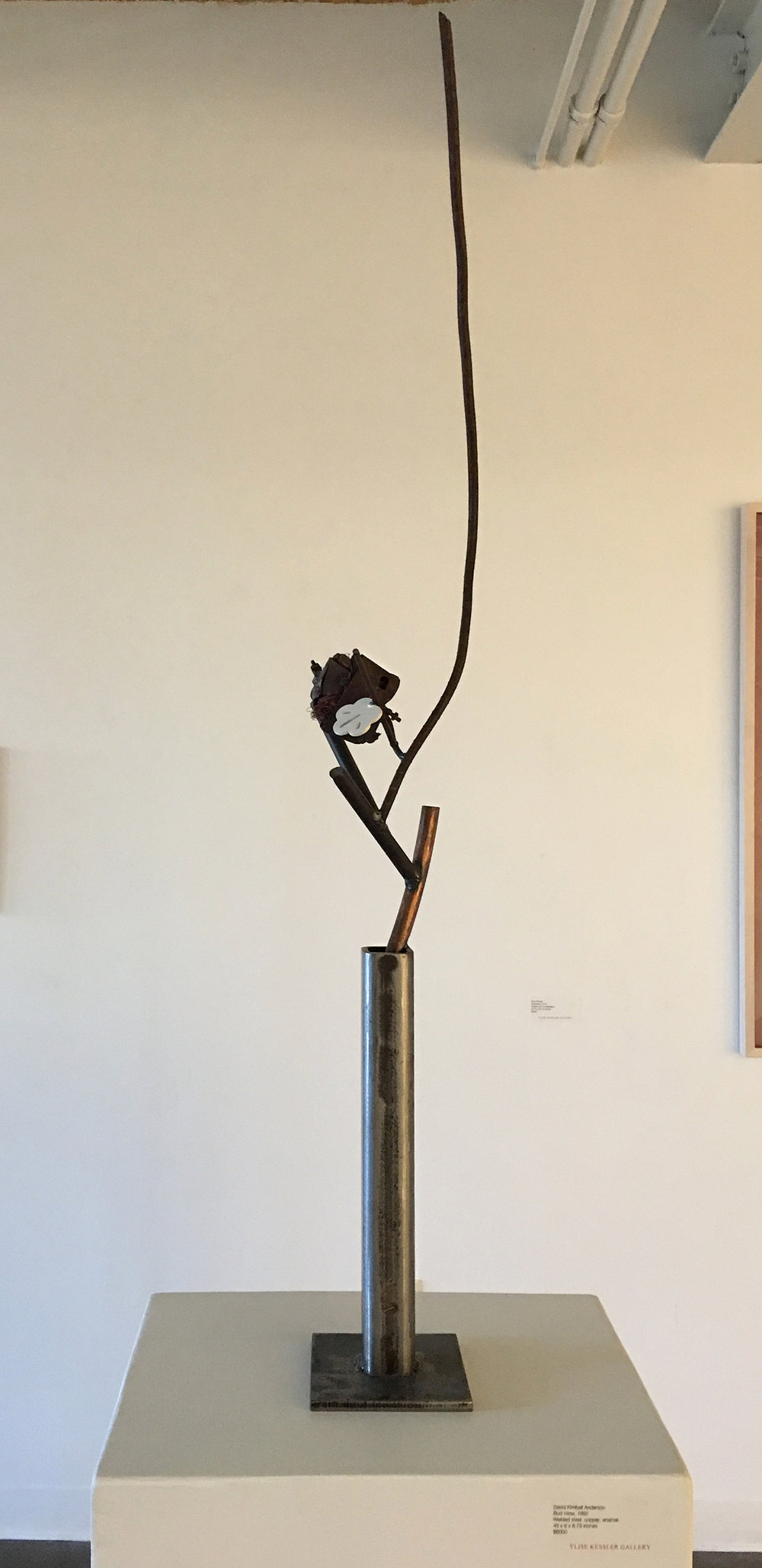 David Kimball Anderson  Bud Vase, 1992  Welded steel, copper, enamel 50 x 8.25 x 7 inches