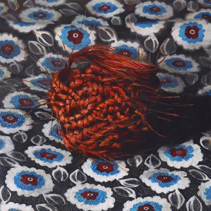 Cedra Wood Nest II Acrylic on panel 4 x 4 inches