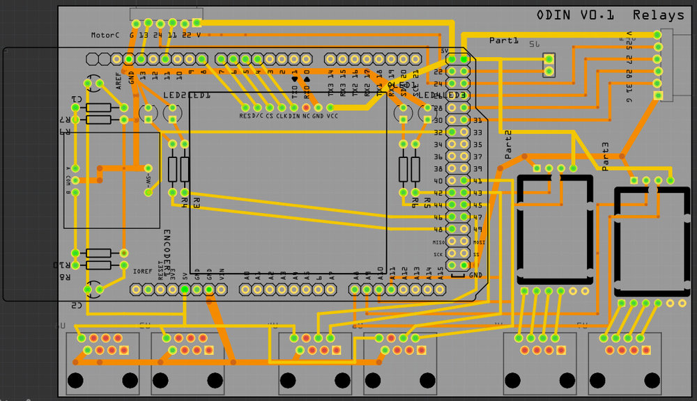 PCB version 1, Arduino Mega shield. Using ethernet jacks for sensors, a color screen and some LED indicators.