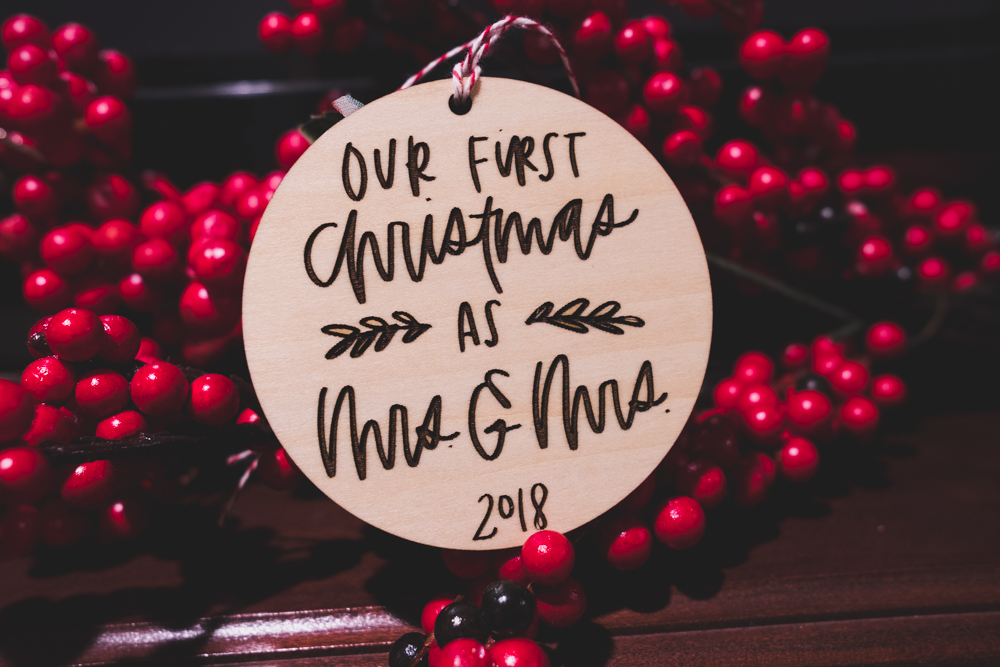 First Married Christmas Ornament   Wanderlove Calligraphy & Design
