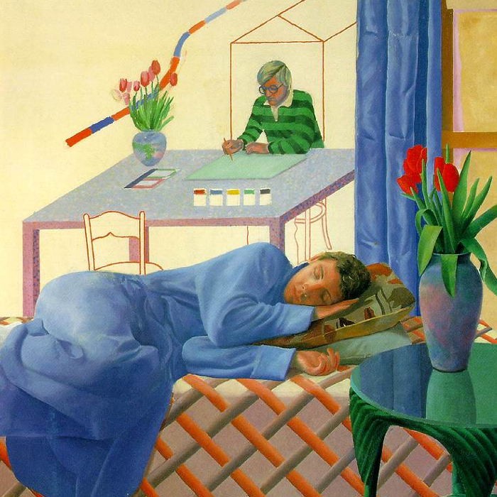 Cover art:  David Hockney ,  Model with Unfinished Self Portrait  (crop)