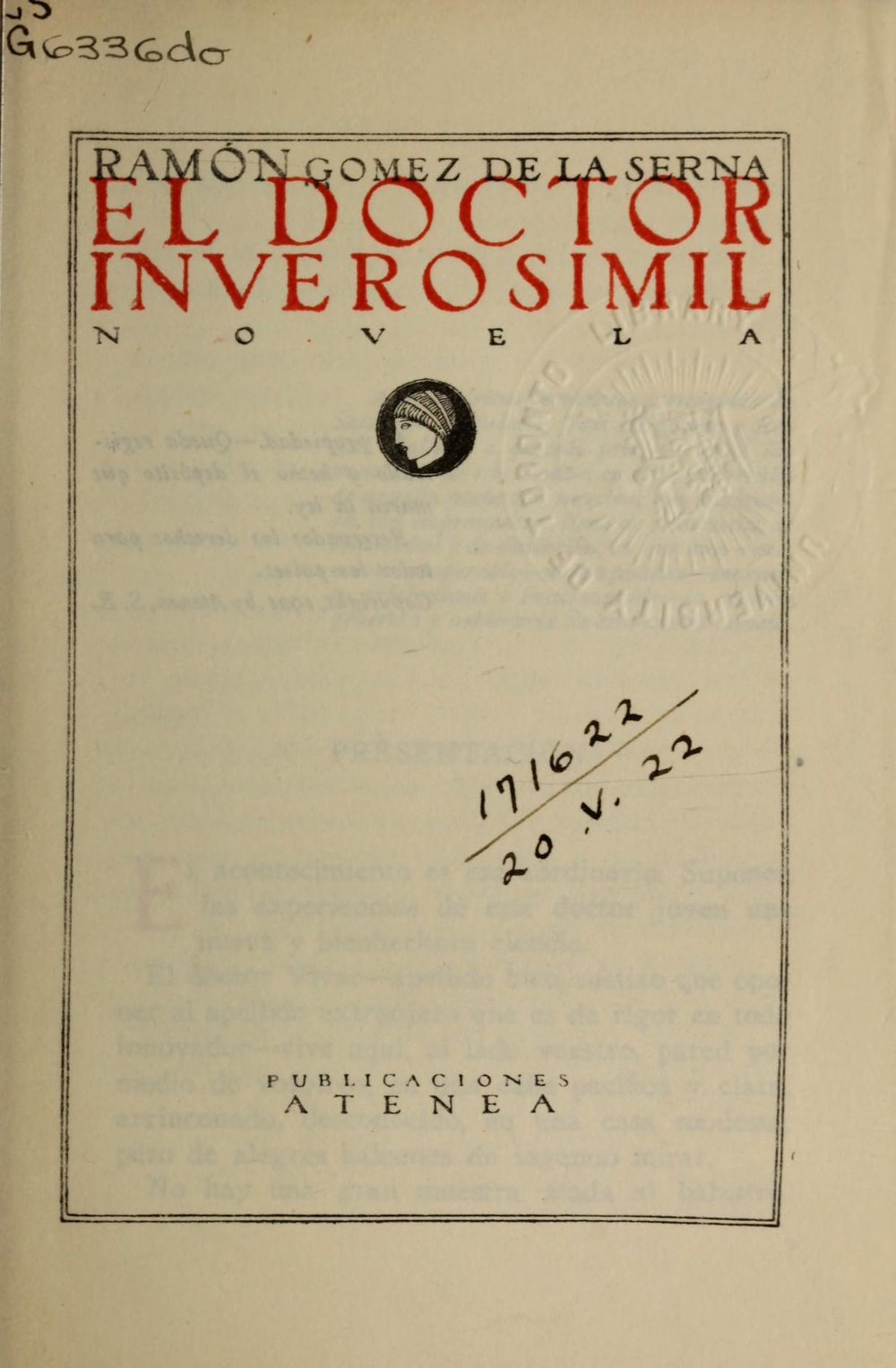 The title page of a library copy digitized at  archive.org .