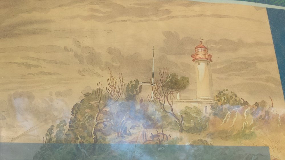 An artist's impression of the lighthouse in the 1800's.