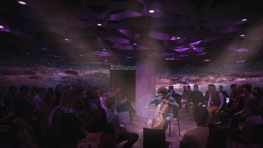 Renderings  provided by LMN Architects featuring Octave 9's first Artist in Residence, cellist Seth Parker Woods.