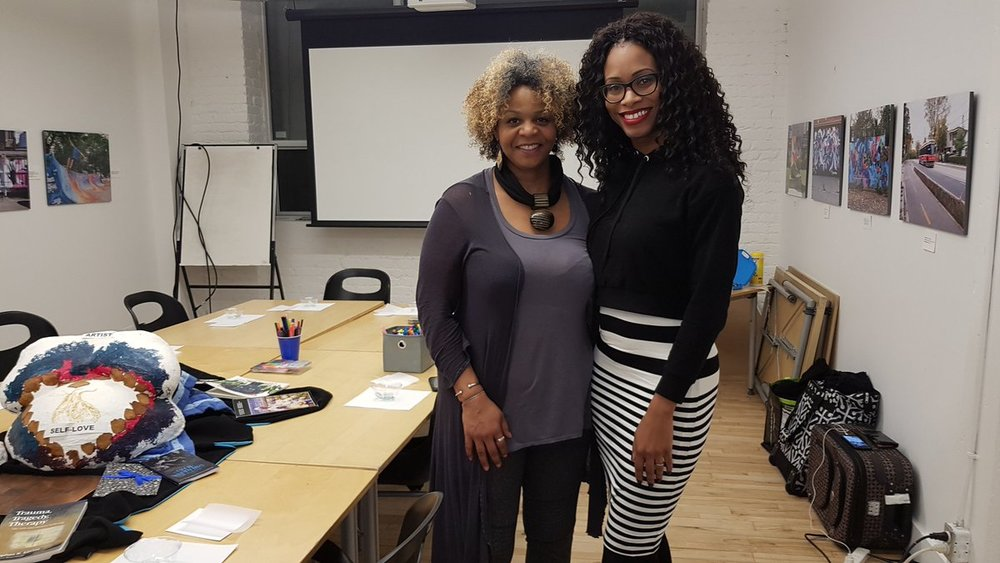 With artist/expressive arts therapist Georgia Fullerton, at the Mommy Monitor Art Therapy Workshop