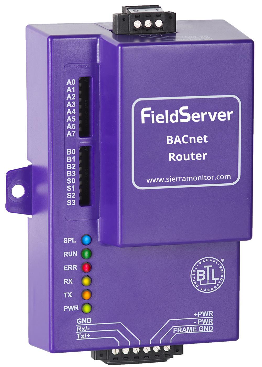 Sierra Monitor's BACnet Router (FS-ROUTER-BAC) product offers a complete BACnet internetworking solution for BACnet/IP, BACnet Ethernet, and BACnet MS/TP networks, while also providing a secure connection to the cloud.