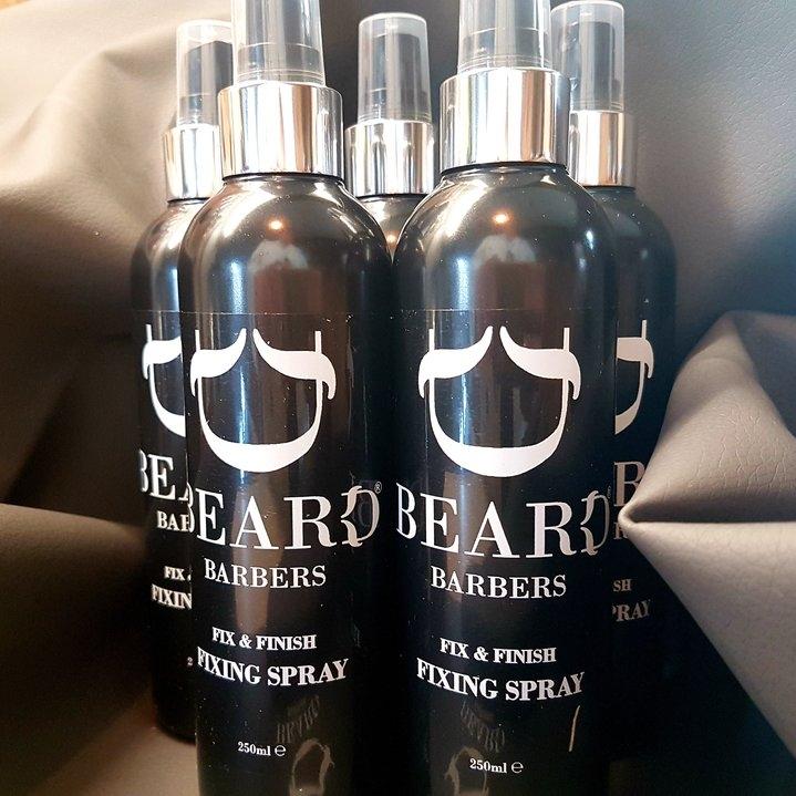Beard Barbers Fixing Spray 350ML    AKA freeze spray or a gel spray! Spray 6 inches from dry hair to fix your style,or using your hands, work through damp hair to style.  Hold: 8 Recommended Use: Short to medium hair length Hair Length: 1-6 inches Finish: Invisible     Denatured Ethanol, Methylal,VA/Crotonates Copolymer, Aminomethyl Propanol, PEG 12 Dimethicone, Adipic Acid / Dimethylaminohydroxy Propyl Dimethylenethraimine Copolymer,Vinyl Caprolactam /PVP/ Dimethlaminoethyl Methacrylate Copolymer, Parfum, Benzophenone4.