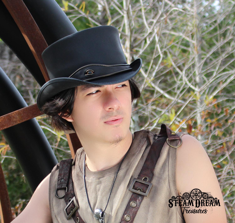 91bd50fce El Dorado Black Finished Eye Band Leather Hat — Steam Dream Treasures