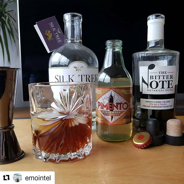 Belissimo👌 ・・・ Let' s have a Notegroni...50 ml Silk tree, 50 ml Bitternote, 50 ml Pimento, plenty of ice, a fresh slice of orange, stir gently, garnish with some mint...salute!! All products available from www.thezerooption.com 🥃😏🤩